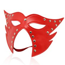 Red PU leather sexy cat face open eye mouth mask cover adult cosplay game sex toy SM head restraint bondage for men women couple(China)