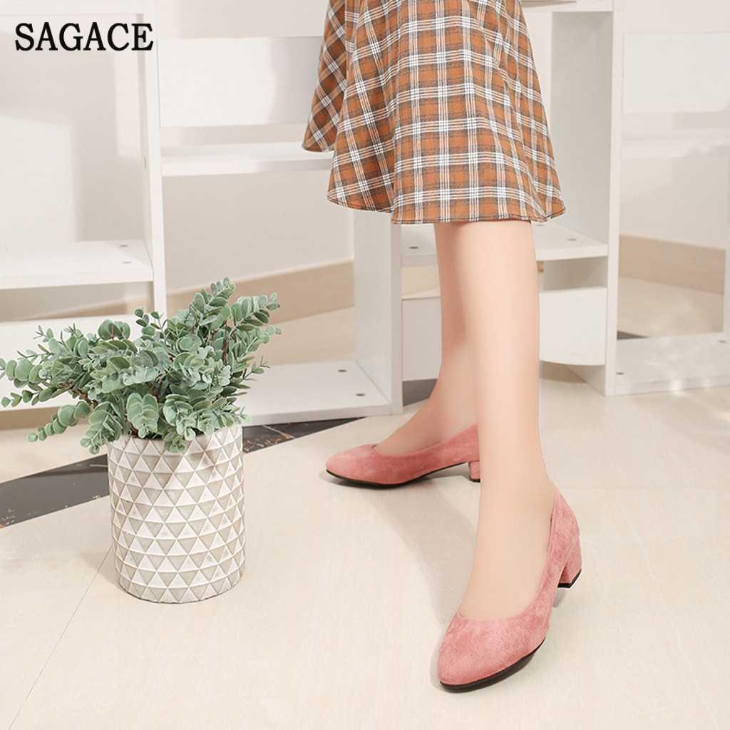 SAGACE Nữ Nữ La Mã Nguyên Khối Văn Phòng Sự Nghiệp Giày Squre Gót Quyến Rũ Nữ Lười Cho Nữ Giày Đế Vuông Bơm Giày