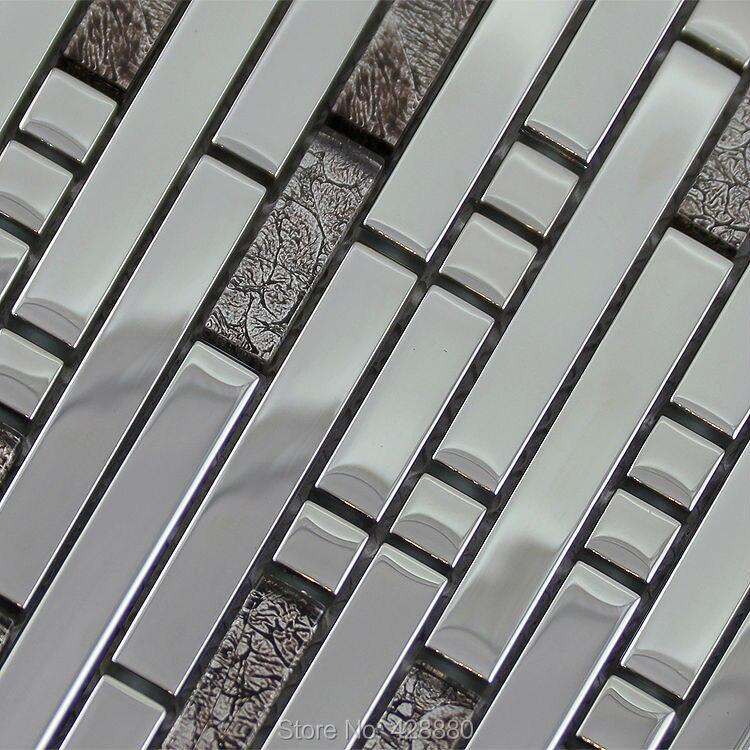 Glass mosaic tile backsplash interlocking stainless steel for Stainless steel wall art