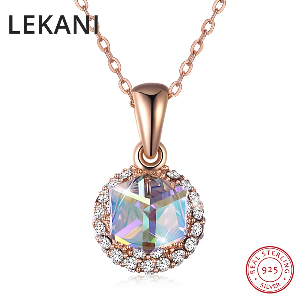 LEKANI New Colorful Cube Crystals From Swarovski Pendants Necklaces Rose Gold S925 Silver Chain Necklace For Women Fine Jewelry 2018 new hot middle east fine jewelry colorful crystal sweater chain bracelet candy color gold rose necklace cute party necklace