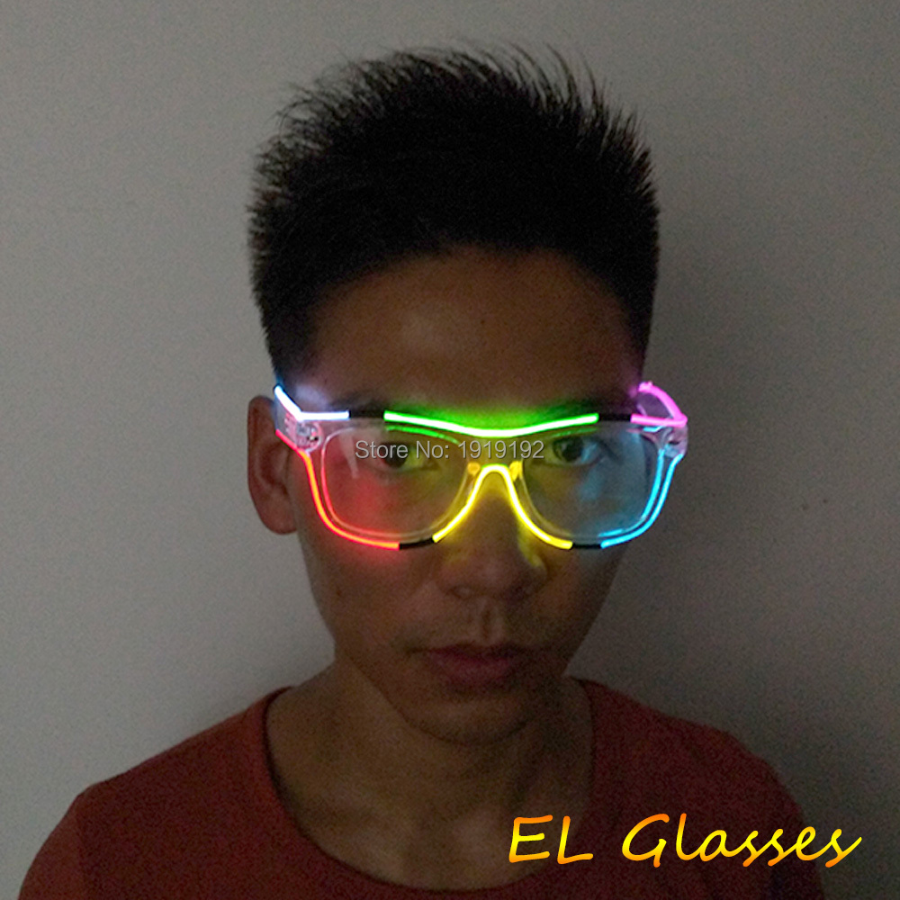 10 pcs multicolor Glowing EL Glasses Flashing Music Led Glasses with sound Activated for Halloween festival