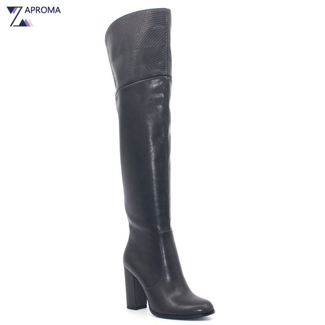 2b4d7daae1f Dark Grey Boots Women Chunky Heel Winter Stretch Boot Over the Knee  Fretwork PU Super High Heel Shoe Elastic Band Faux Fur Boots
