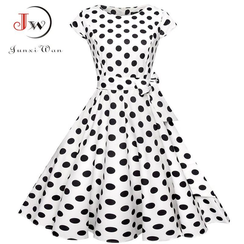 Black White Polka Dot Vintage Dress  Summer Women Floral Print Short Sleeve Retro Robe Rockabilly Dresses Party Jurkjes 1