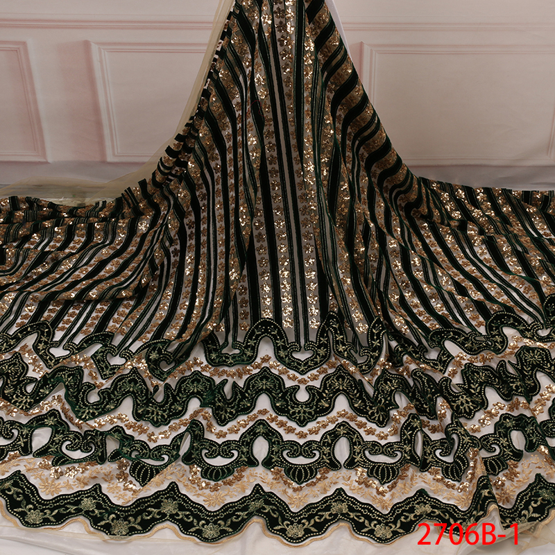 Hot Sale Velvet Lace Fabric Latest Nigerian African Tulle Lace Fabric Embroidery With Sequins For Party Dress KS2706B-1