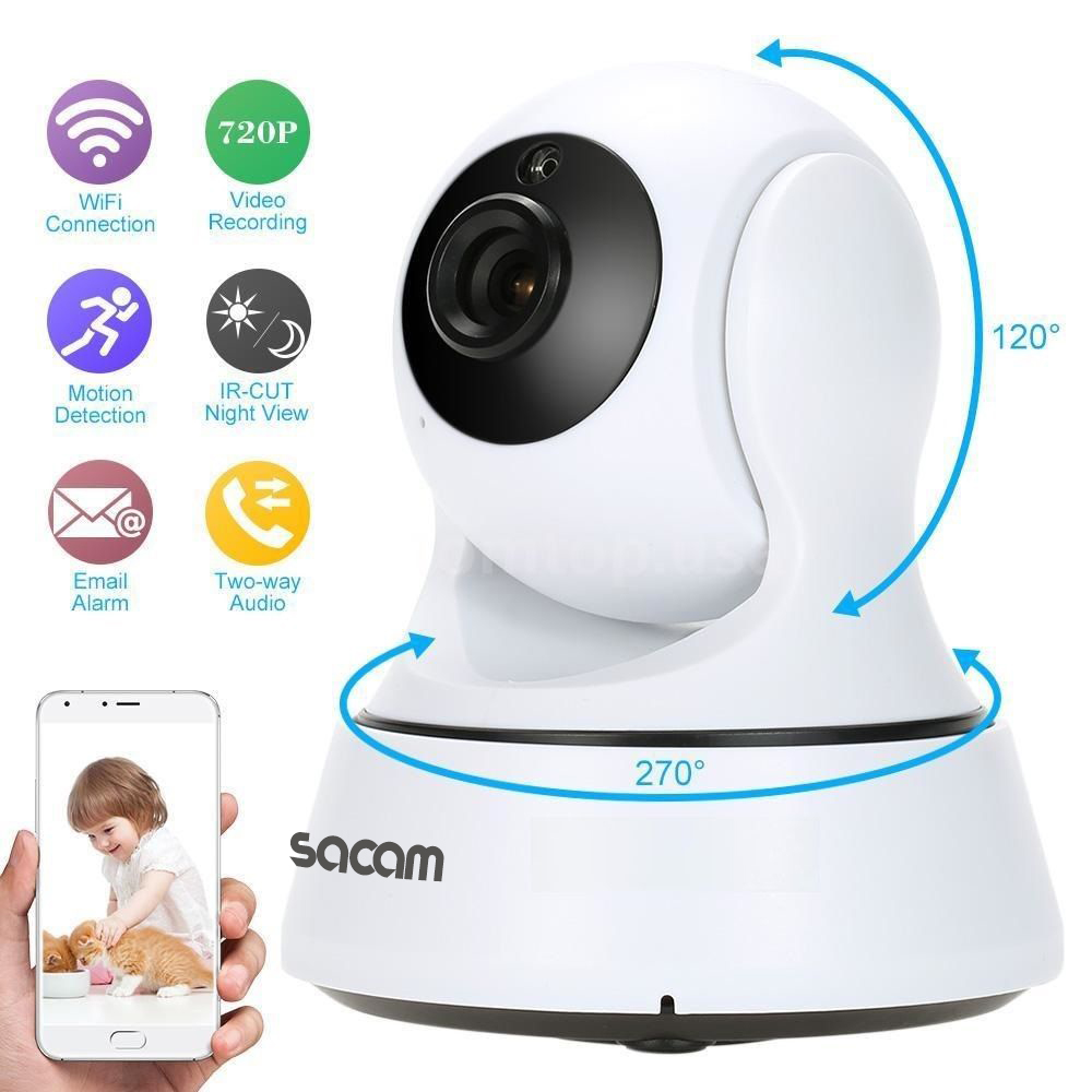 SACAM Wireless 720P Network Security CCTV IP Camera Night Vision WiFi Webcam Pan Tilt Home Surveillance