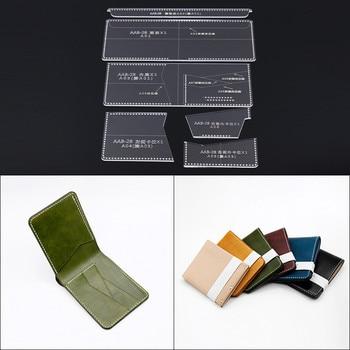 DIY Leather Handmade Craft women card Holder wallet Purse Storage Sewing Pattern Acrylic Stencil Template 9.5*11.5*2cm