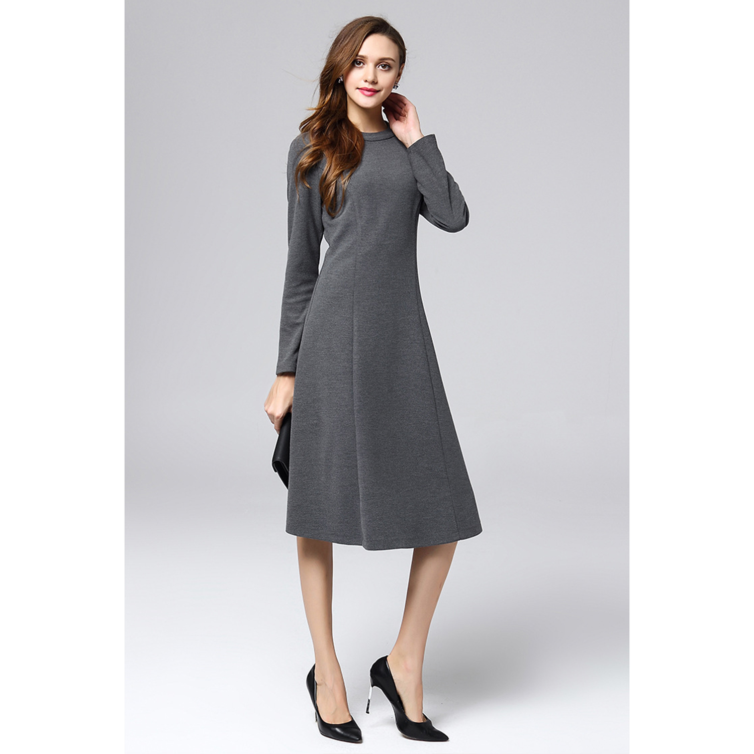 Marina Kaneva 2019 Large Size Simple Temperament Dress Female High Waist Slim Long Sleeve Commuter Autumn and Winter Primer A-