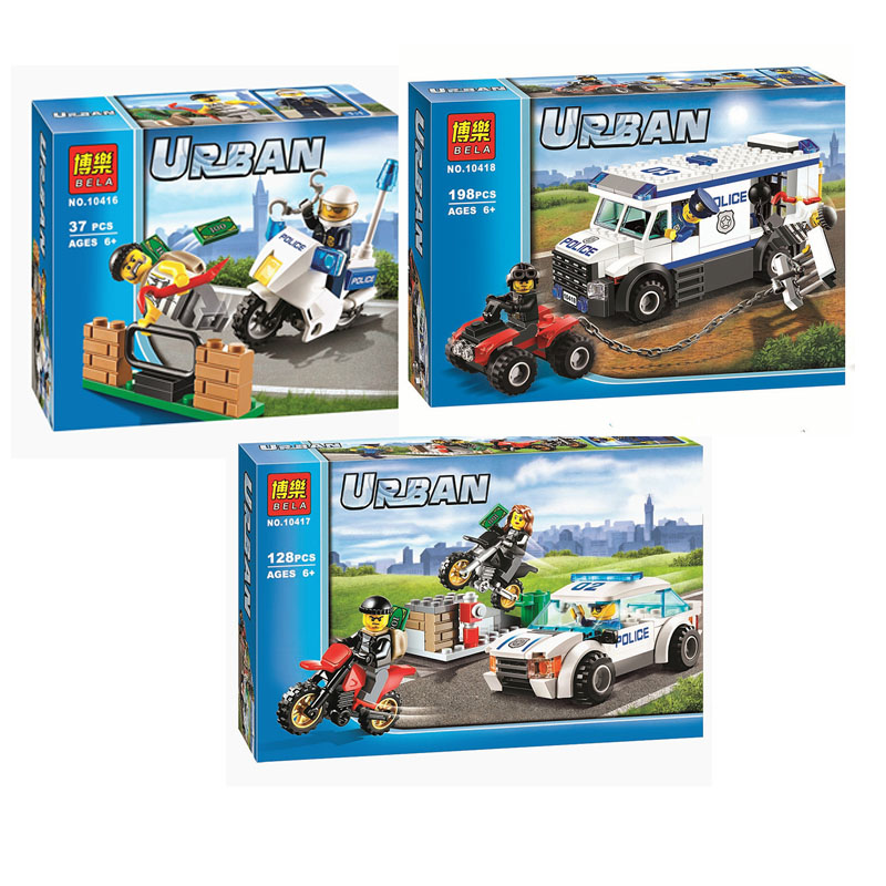 Lepin Pogo Bela Motorcycle Cars Pursuit Of Prisoners Urban Police City Building Blocks Bricks Action Compatible with Legoe Toys compatible lepin city block police dog unit 60045 building bricks bela 10419 policeman toys for children 011