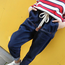 DoreenBow New Pencil Pants Fashion High Waist Jeans Women Denim Fabric Drawstring Blue Loose Big Size Trousers, 1 Piece