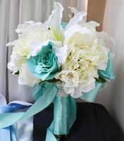Handmade sztuczny kwiat wedding flower bride gospodarstwa kwiaty lilii wzrosła kalina wielokolorowe