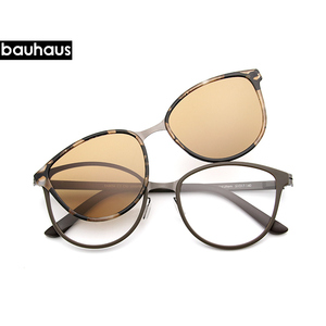 Image 4 - Bauhaus Cat Eye Eyewear Frames Women frame 3in1 memory core inside Polarized Magnet Clip sunglasses optical glasses