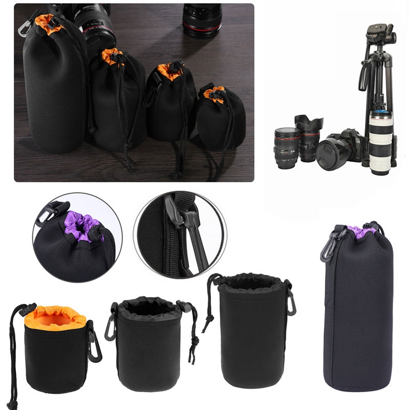 3 Color Camera Lens Pouch Bag Neoprene Waterproof Soft Video Camera Lens Pouch Bag Case Full Size S M L XL Camera Lens Protector