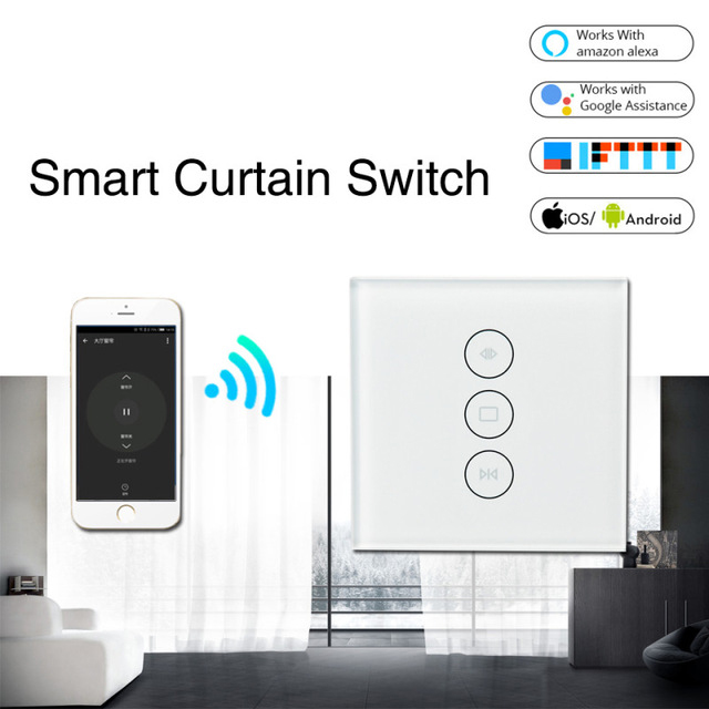 New WiFi Smart Curtain Switch Glass Panel App Remote Control Work With Alexa And Google Home Or Electric Curtain Motor