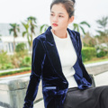 The New Spring Ladies Long-sleeved Jacket Long-sleeved Slim Blue Velvet Blazer Women Size:S-XL Free Shipping