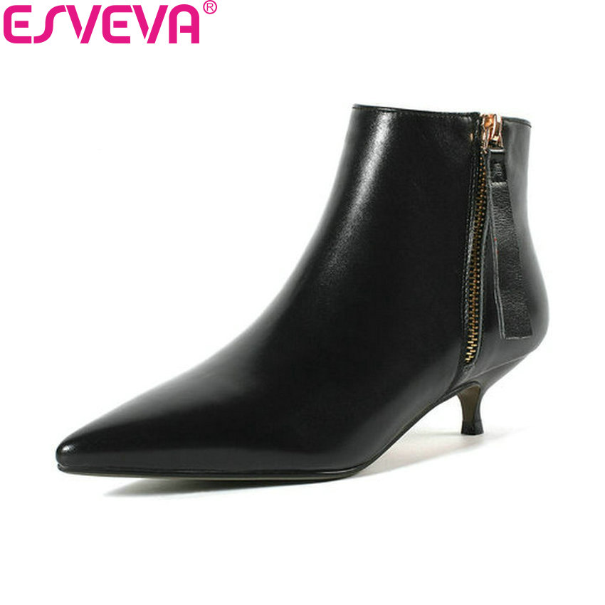 ESVEVA 2019 Women Boots Pointed Toe Thin Med Heels Zipper Shoes Ankle Boots Spring Autumn Shoes Concise Ladies Boots Size 34-43