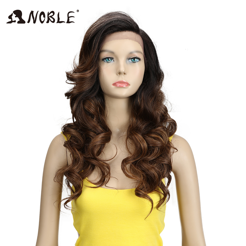 Noble T Part Lace Front ombre blonde Wig 22 Inch Long Wavy Synthetic Wigs  Full I Part Wigs  3 Colors Choice Free Shipping