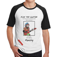 Sock Monkey Acoustic Guitar Country Music Cotton Tshirts Young Men 3 4 Sleeve Plain Raglan Design