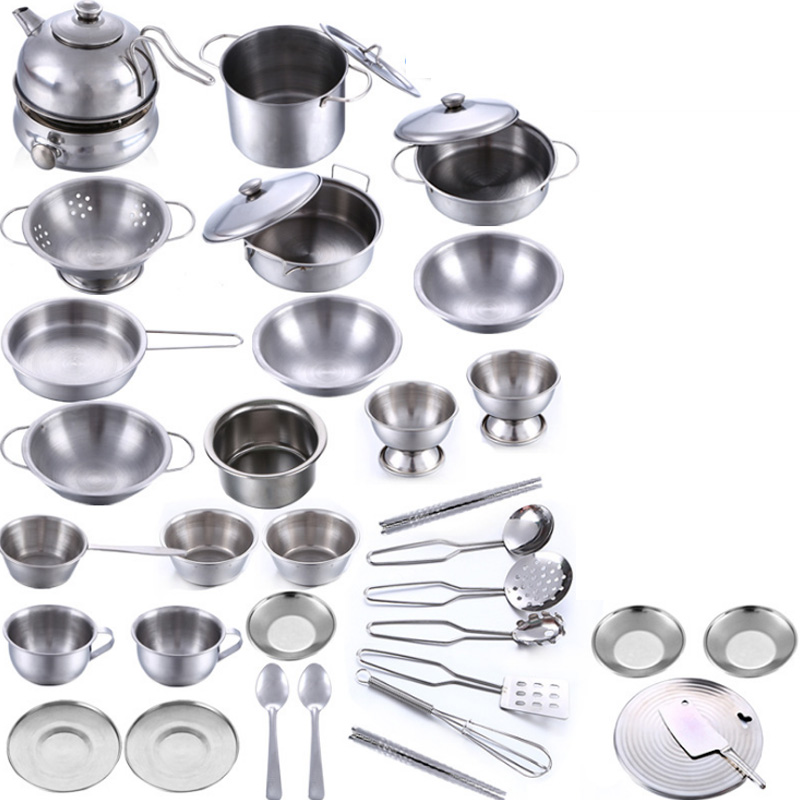 New Sale 32 Pcs Stainless Steel Children Kitchen Toys Miniature