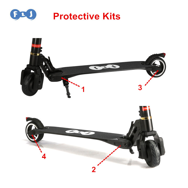 FLJ Scooter Protective Kits For Model S2 S3 Carbon Electric Scooter Plastic Protective Cover 4pcs/set Scooters Spare Parts