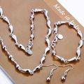 925 joyería de plata esterlina ajustado cuentas de plata de plata Twisty Water Drop collar pulsera del pendiente del gancho S189