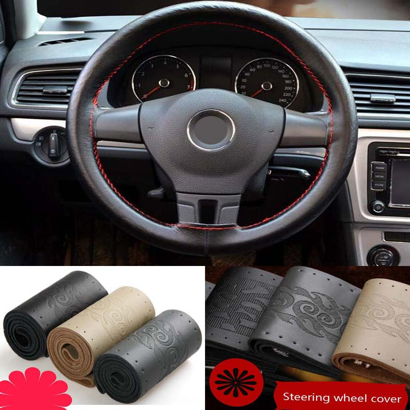36/38/40cm Universal Car Steering Wheel Cover Braid On Sew antislip breathable fashion cow leather