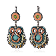 цены на Free Shipping Min Order $10 (Mix Order)New Arrival Vintage Ethnic Women Silver Plated Blue Resin Statement Drop Earrings Jewelry  в интернет-магазинах