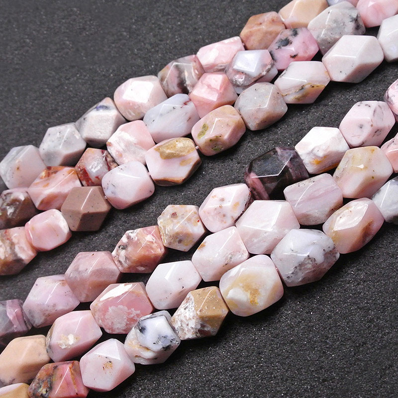 15x18mm Natural Rectangle Cuboid Faceted Pink Opal beads For Jewelry Making Beads Bracelets 15'' DIY Beads Trinket Mother's Day
