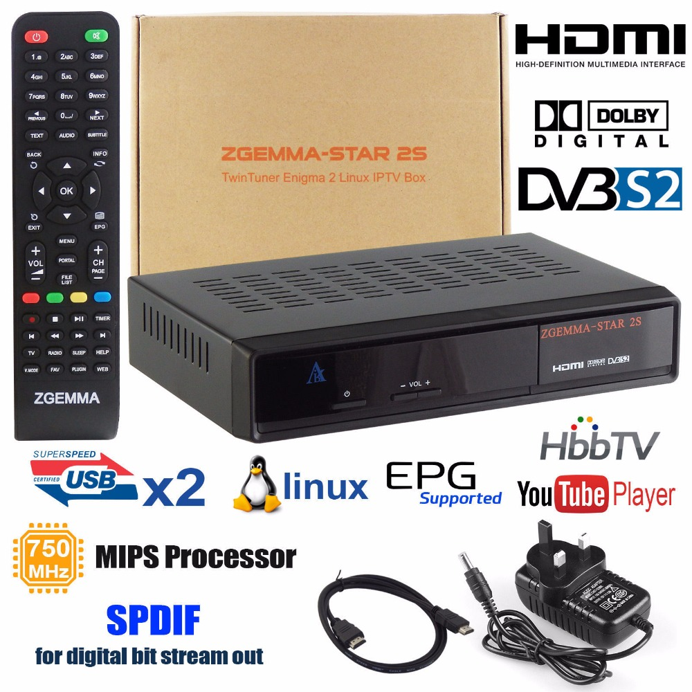 MCBOSON Zgemma Star 2S Linux Enigma DVB-S2 Twin Tuner HD Satellite Receiver Free To Air FTA Box i box rs232 dvb s satellite smart sharing nagra 3 dongle black