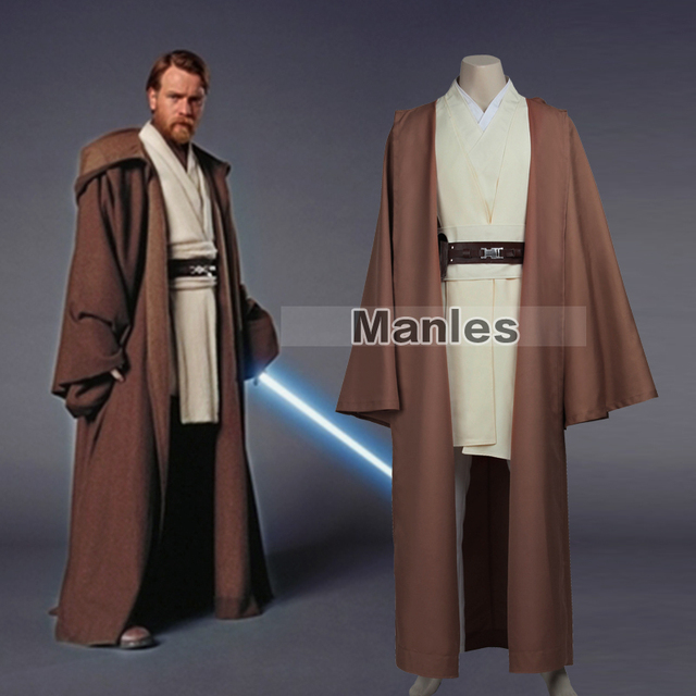 Jedi Knight Obi-Wan Kenobi Costume Star Wars Jedi Tunic Cosplay Costume Jedi Tunic Robe Costume With Cloak Halloween Custom Made