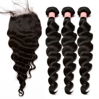 גל רופף ברזילאי הבתולה Weave שיער 3 חבילות עם סגירה צרורות שיער אדם עם שיער תינוק קשרים מולבנים סגירת אתה עשוי