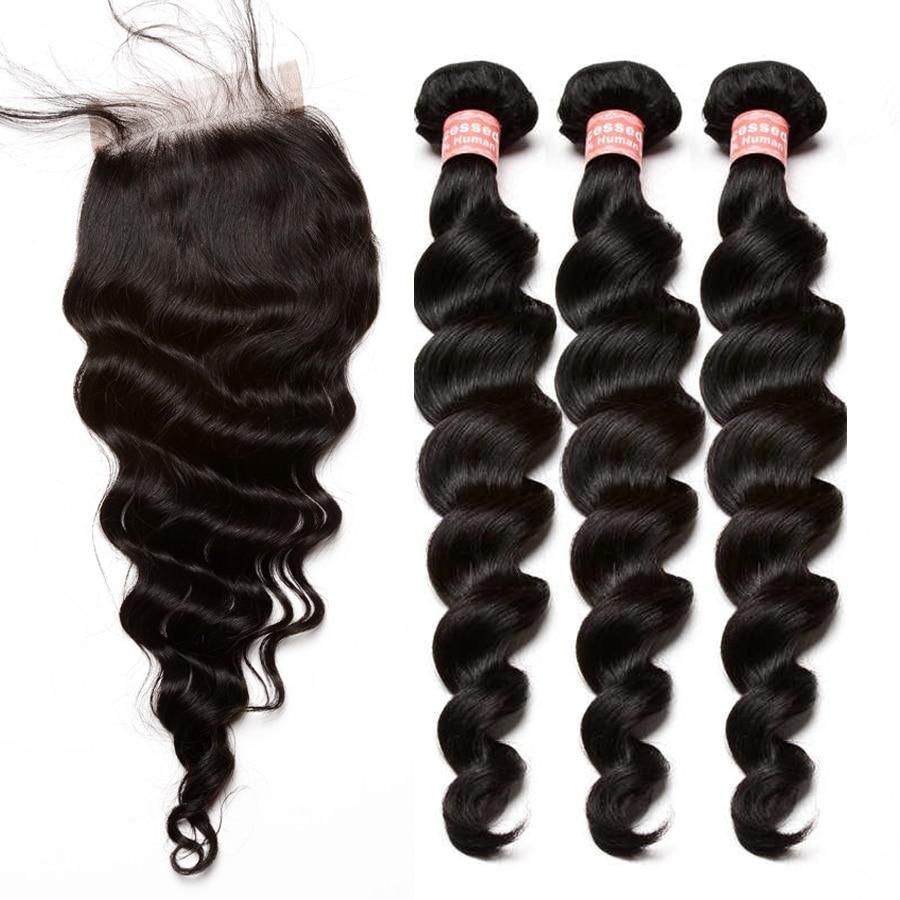 Brazilian Virgin Hair Weave 3 Bundles With Closure Loose
