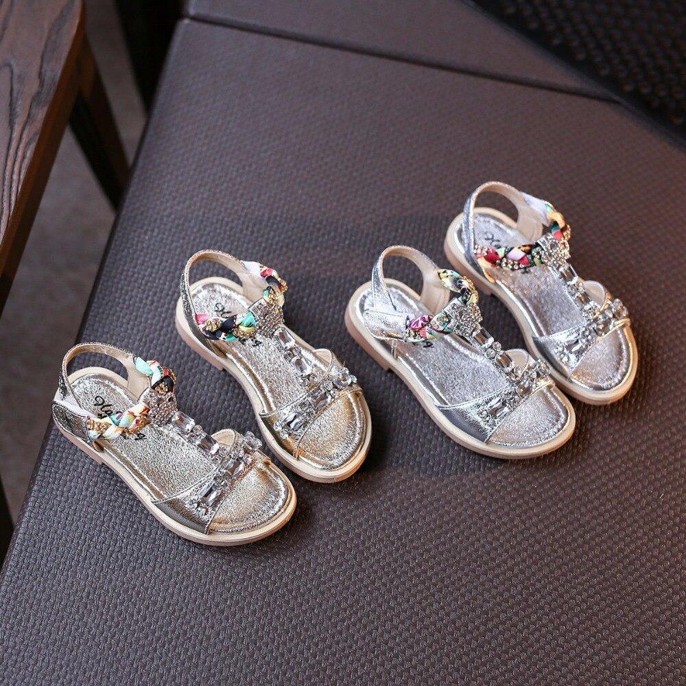 Nice Shoes Online Metallic Rhinestones Girls Sandals ...