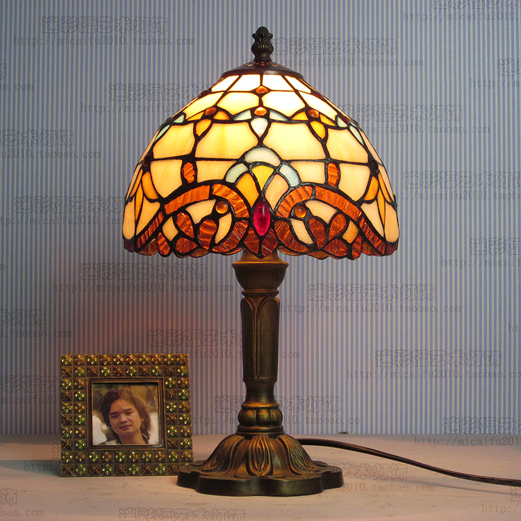 8inch Tiffany lighting Mediterranean Stained Glass Lampshade Tiffany Table Lamp Country Style Bedside Lamp E27 110-240V