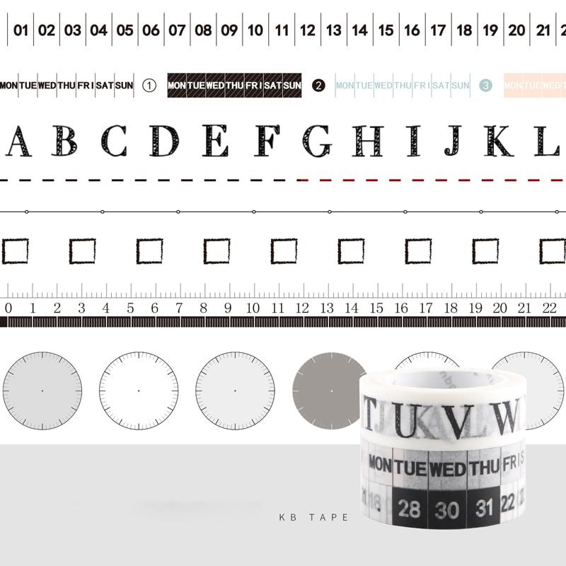 Fromthenon Date Week Ruler Letter Alphabet Notebook Masking Tape Planner Sticker Tape Diary Decorative Tape School Stationery