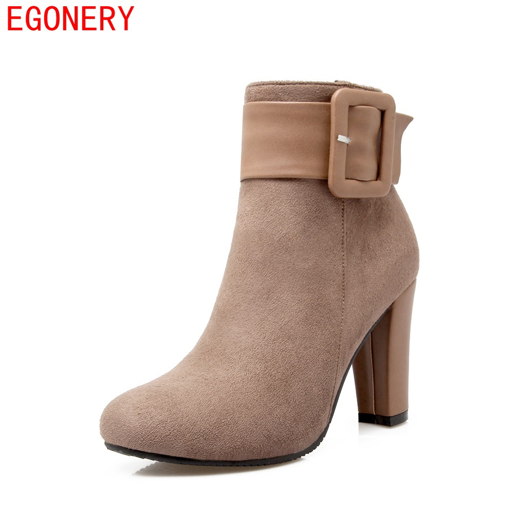EGONERY Suede Nubuck Zipper Belt Square High Heels Fashion Style Women's Ankle Boots Spring Autumn Shoes Woman Plus Size egonery quality pointed toe ankle thick high heels womens boots spring autumn suede nubuck zipper ladies shoes plus size