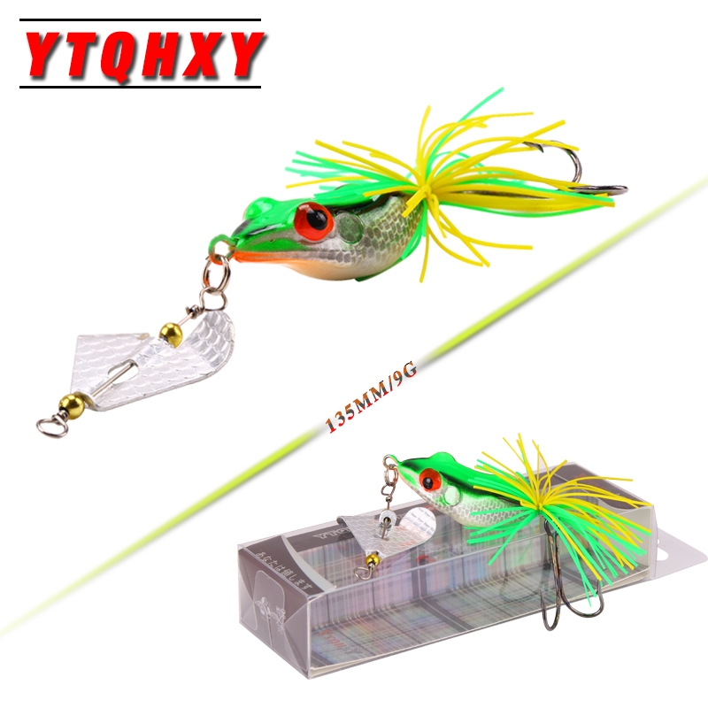 все цены на YTQHXY 135mm 9g Fishing Lures Treble Hooks Topwater Ray Frog Minnow Bait Crankbait Wobblers 3D Eyes Fishing Tackle YE-111 онлайн