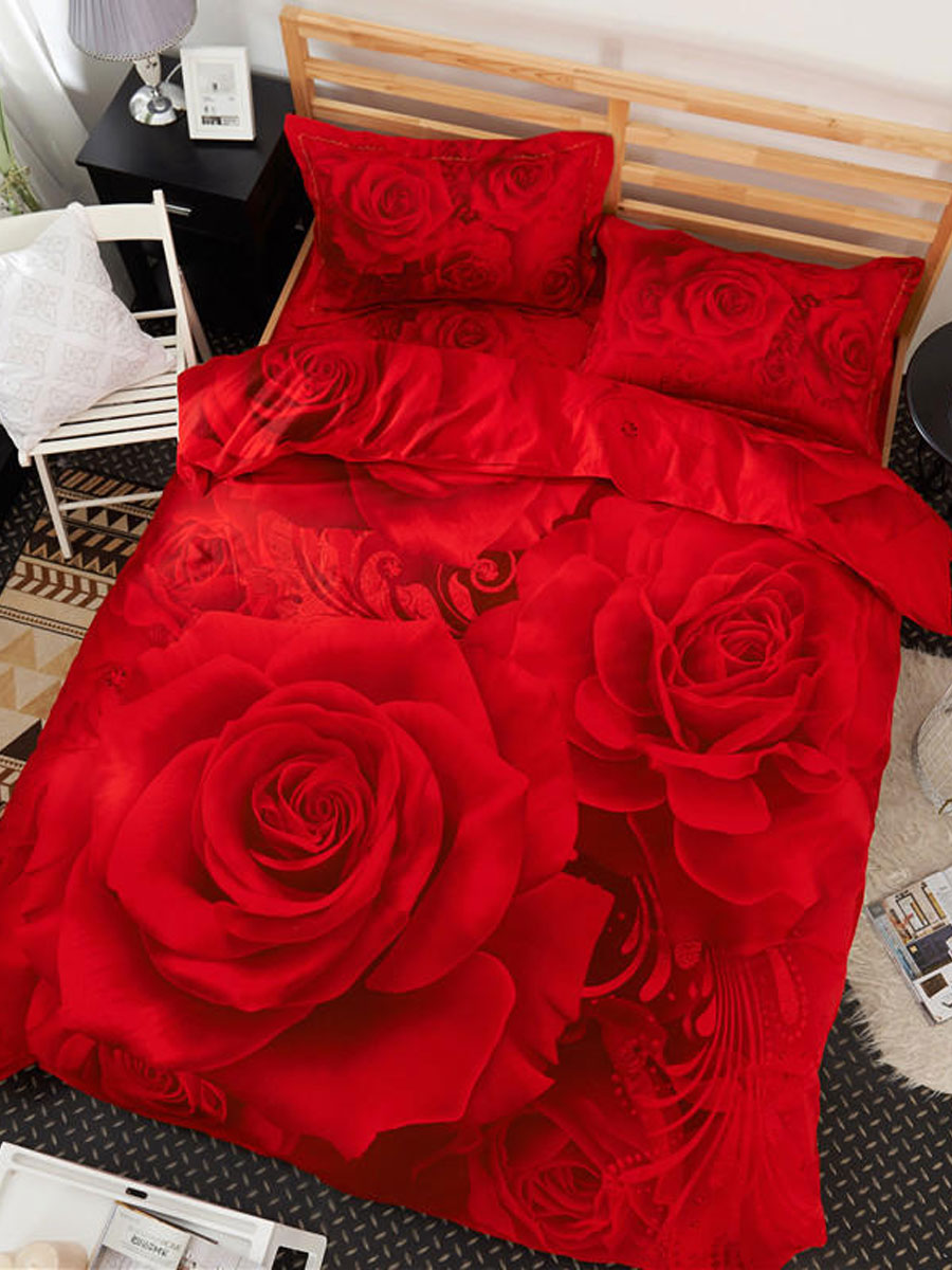 4Pcs Duvet Cover Set Voguish Sweet Rose Flowers Printed Supple Bedding Kit 4Pcs Duvet Cover Set Voguish Sweet Rose Flowers Printed Supple Bedding Kit