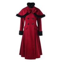 Clocolor Medieval Victorian Long Coat Autumn Winter Women Vintage Outwear with Fur Ladies Tunic Lace Up Warm Woolen Dress Coat
