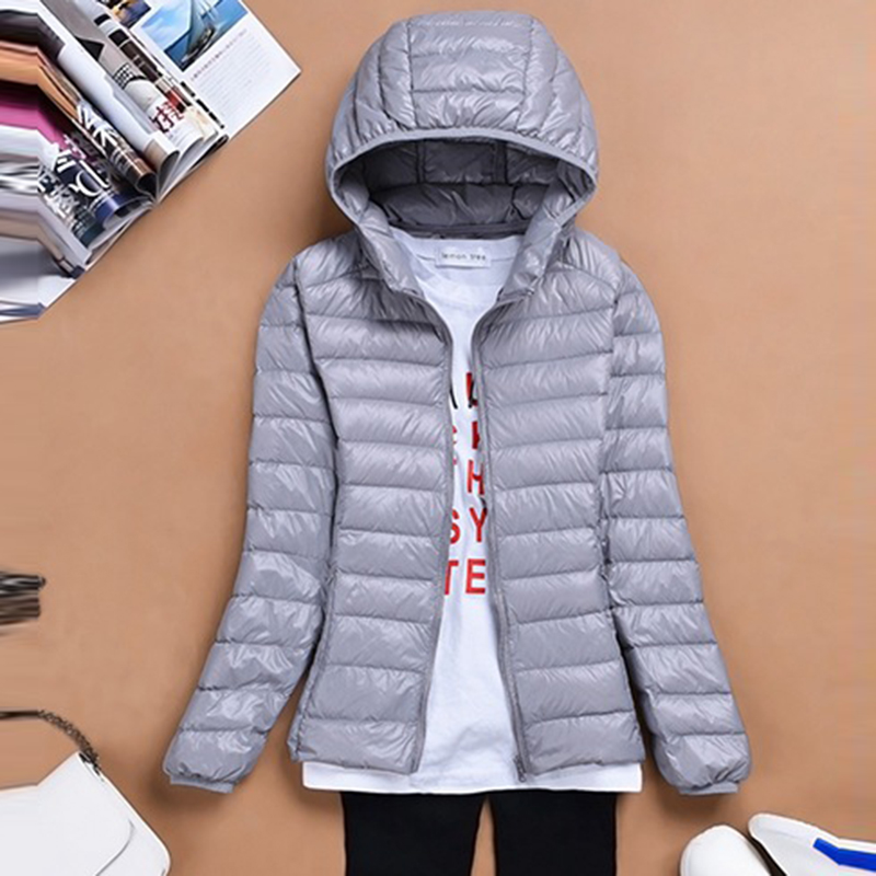Ultra Light Down Coats 2018 Autumn Winter Female Short Hooded Casual Down Jackets 90% White Duck Down Jacket Outwear FP1214