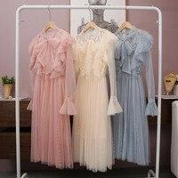 2019 Spring Fairy Dress Women Long Sleeve Elegant Dress Sexy Sheer Pearl Pink Mesh Dresses High Quality Fashion Robe Femme