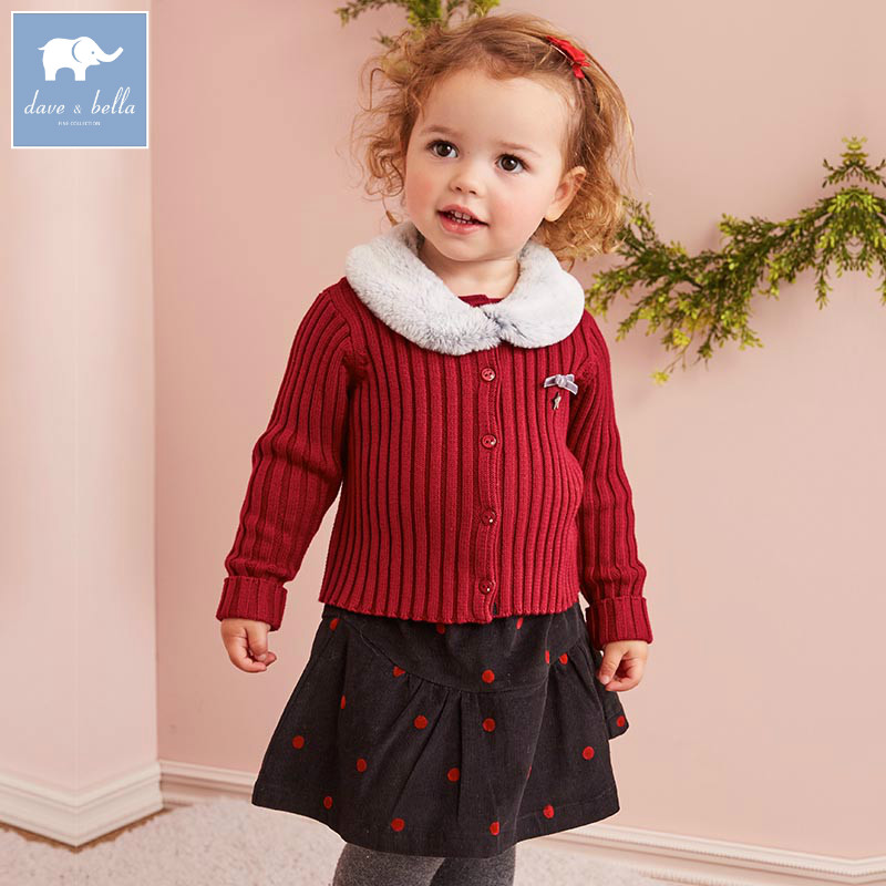 DB5485 dave bella autumn winter baby girls knitted sweater suits kids Cardigan tops children clothing sets high quality clothes garyduck girls clothing sets kids knitted suits long sleeve houndstooth tops skirts 2pcs for girls suits