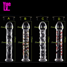 YUELV Pyrex Glass Dildo Artificial Penis Dick Crystal Anal Butt Plug Female Masturbation G-spot Massage Adult Sex Toys For Women