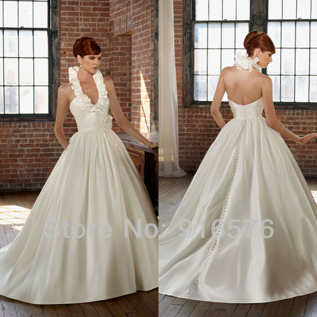 Easy Dress Patterns Wedding Gowns Halter Style Plus Size Dresses Ruched A Line Backless