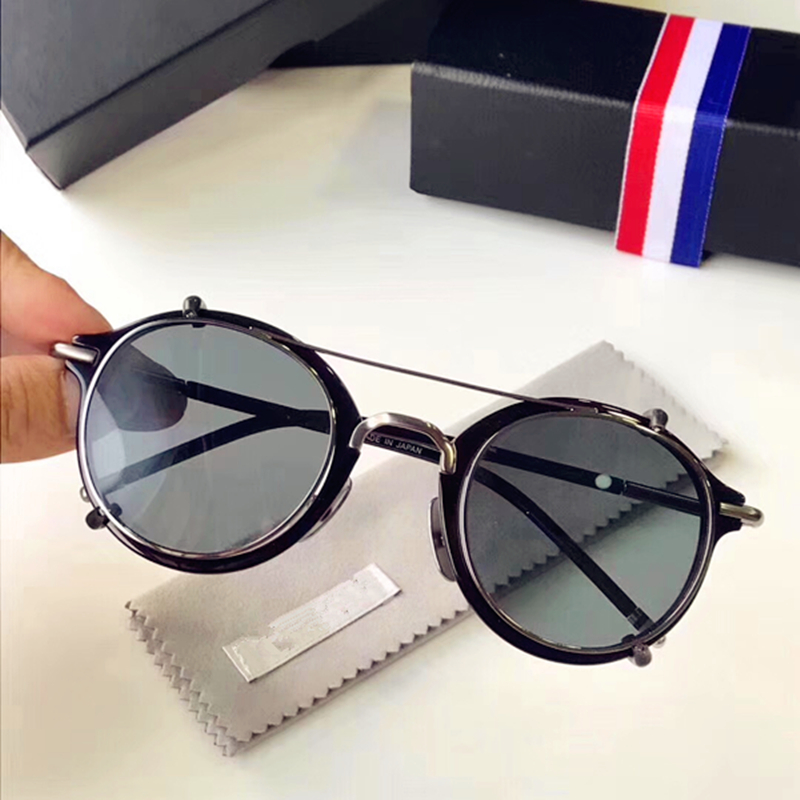 Vintage Retro Glasses clip sunglasses Thom TB 028 Women man Driving Metal Eyewear Brand Design Classic Round Sunglasses original