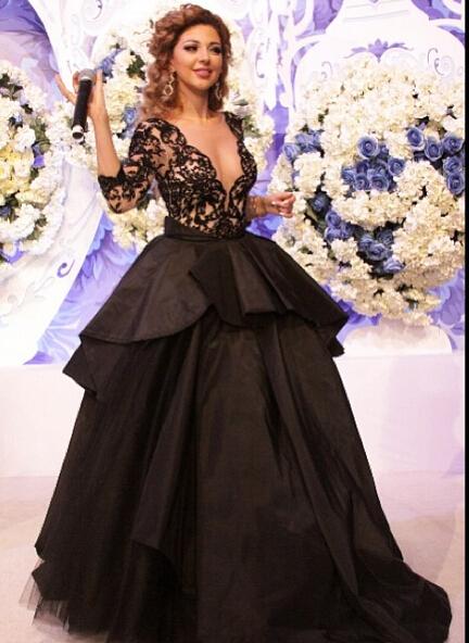 Myriam Fares Celebridade Vestidos 2016 vestido de Baile V-neck Lace Abaya Árabe Dubai Abiye Sexy Illusion Vestidos de Noite Longo do Baile de finalistas