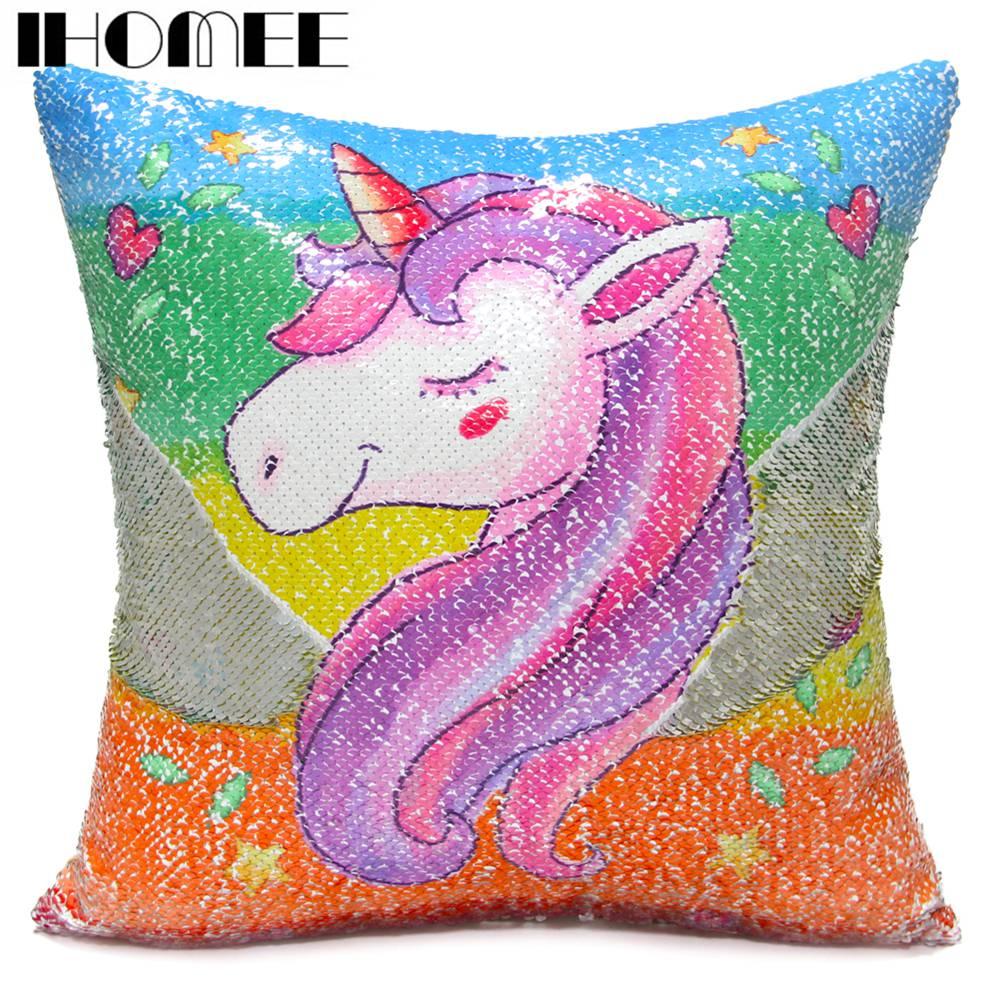 IHOMEE Paillettes Unicorn Cuscino 40*40 Cuscini Per Divani Decorativo Sirena Reversibile Federa Home Decor Trasporto di Goccia