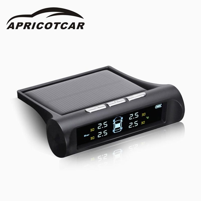 Car Solar TPMS Car Tire Pressure LCD Color Display Monitoring System Wireless + 4 Sensors Auto Alarm System Car Electronics