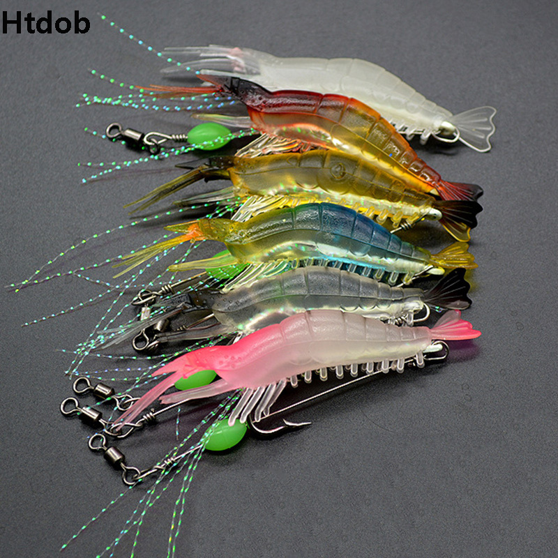 7Pcs Shrimp Soft Lure 8cm 5g Fishing Artificial Bait Soft Fishing Lure Luminous Beads With Hooks Anzois Para Pesca Sabiki Rigs