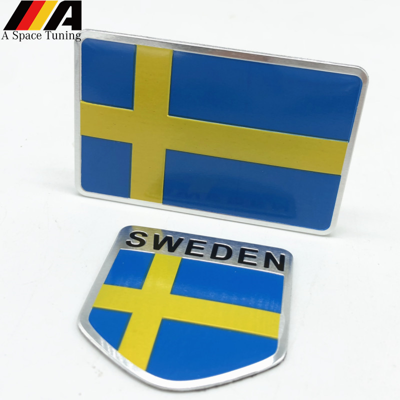 Aluminum Sweden Flag Car Styling Sticker Emblem Decal Badge For SE Cars Body Window Door For Volvo V70 XC60 S60 V60 V40 VW Golf