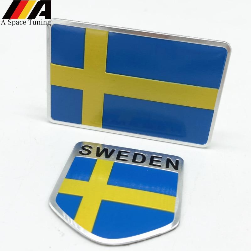 Aluminium Schweden Flagge Auto Styling Aufkleber Emblem Aufkleber Abzeichen Für SE Autos Körper Fenster Tür für Volvo V70 XC60 S60 v60 V40 VW Golf